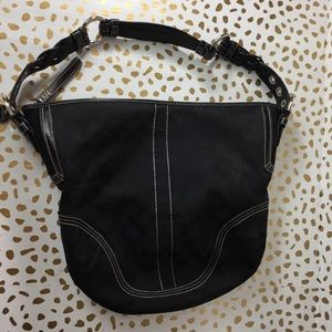 AUTHENTIC Coach Black Signature Print Hobo Bag
